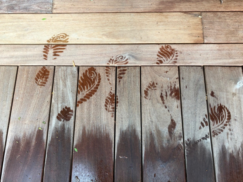 Footprints on the deck